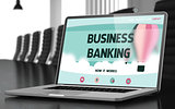 Landing Page of Laptop with Business Banking Concept. 3d.