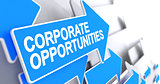 Corporate Opportunities - Inscription on the Blue Cursor. 3D.
