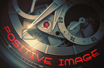 Positive Image on Men Wristwatch Mechanism. 3D.