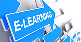 E-Learning - Label on Blue Arrow. 3D.