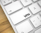 VPN - Inscription on the White Keyboard Key. 3D.