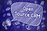 Open Source CRM - Doodle Illustration on Blue Chalkboard.
