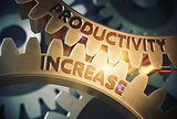 Productivity Increase on the Golden Gears. 3D Illustration.
