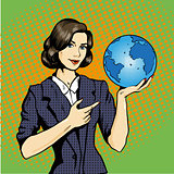 Business lady with planet Earth in hand vector illustration pop art comic