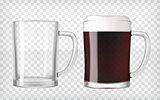 Realistic beer glasses - dark beer and empty mug