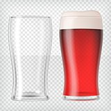 Realistic beer glasses - red beer and empty mug