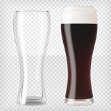 Realistic beer glasses - dark beer and empty mug