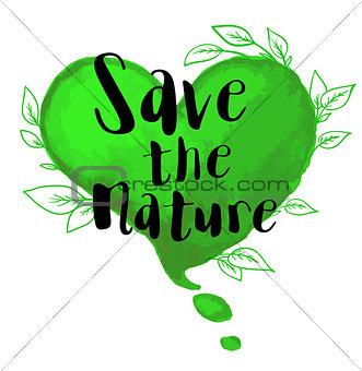 Green watercolor heart