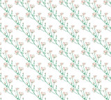 Vector Colorful Seamless Pattern with Drawn Flowers, Branches, Plants