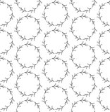Seamless Pattern with Drawn Circles Branches, Plants