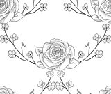 Vector Black Seamless Pattern with Drawn Flowers, Roses with Branches