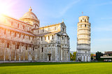 Leaning Tower of Pisa at sunset