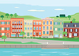 Seamless scene with houses along river illustration