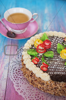 cakes on color background