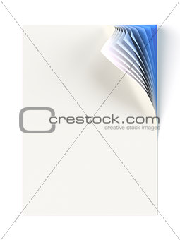 Blank document mock up with blue monochrome curled corner