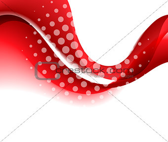Abstract red color wave design element.
