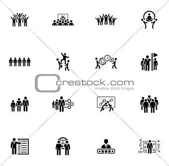 Flat Design Business Team Icons Set.