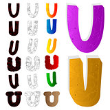 Vector illustrated set of letter U, filled with floral elements.