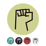 Raised Fist logo. Vector Illustration on a white background.