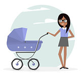 Illustration woman and pram. Young mom and baby stroller.
