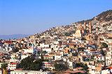 View on Taxco de Alarcon city and Santa Prisca Parish Church, Me