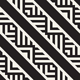 Stylish Lines Maze Lattice. Ethnic Monochrome Texture. Abstract Geometric Background. Vector Seamless Black and White Pattern.