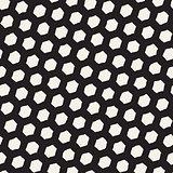 Seamless black and white pattern with hexagon lattice. Creative monochrome hand drawn honeycomb background.