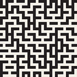 Irregular Maze Shapes Tiling Contemporary Graphic Design. Vector Seamless Black and White Pattern