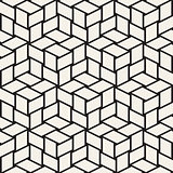 Cubic Grid Tiling Endless Stylish Texture. Abstract Geometric Background Design. Vector Seamless Black and White Pattern.