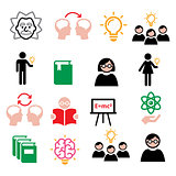 Science, knowledge, creative thinking, ideas vector icons set