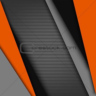 Abstract background with black gray orange design stripes