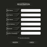 Register web dark screen template