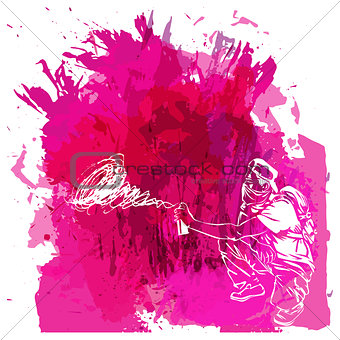 Paint spot with splash in watercolour style. Graffiti guy makes street art on wall. Background for flayer, web banner, print. Love