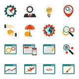Internet marketing flat icons set