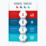 Infographics template four options with hexagon