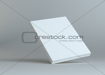 Blank empty book on grey studio background