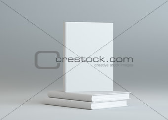 Blank books template on gray background