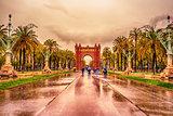 The Arc de Triomf, Arco de Triunfo in Spanish, a triumphal arc in the city of Barcelona, in Catalonia, Spain