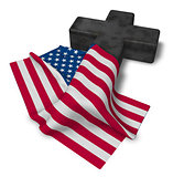 christian cross and flag of the usa - 3d rendering