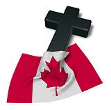 christian cross and flag of canada - 3d rendering