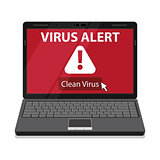 Laptop and virus alert message on screen.