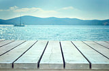 Wooden planks with sea