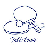 table tennis bats and ball
