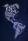 Map America vintage blue
