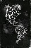 Map America vintage chalk