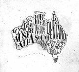 Map Australia vintage