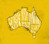 Map Australia vintage yellow