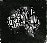 Map Australia vintage chalk