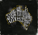 Map Australia vintage chalk yellow