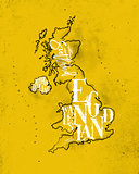 Map United Kingdom vintage yellow